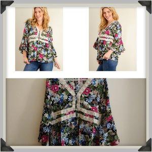NWT Floral Print Bell Sleeve Boho Gypsy Blouse